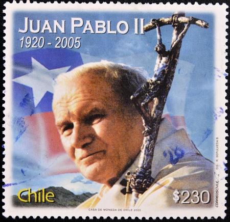 philatelist: CHILE - CIRCA 2005: Eine Briefmarke gedruckt in Chile zeigt Papst Johannes Paul II., circa 2005