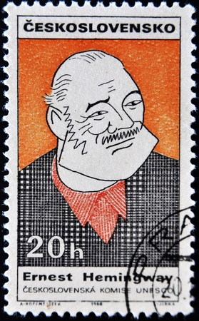 ernest hemingway: CZECHOSLOVAKIA - CIRCA 1968: A stamp printed in Czechoslovakia, shows portrait of the American writer Ernest Miller Hemingway, circa 1968