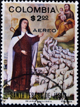 camel post: COLOMBIA - CIRCA 1980: A stamp printed in Colombia shows paint by Santa Teresa de Jesus, circa 1980