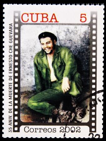 CUBA - CIRCA 2002 : Stamp printed in Cuba, anniversary of the death of Che Guevara in Bolivia, Circa 2002