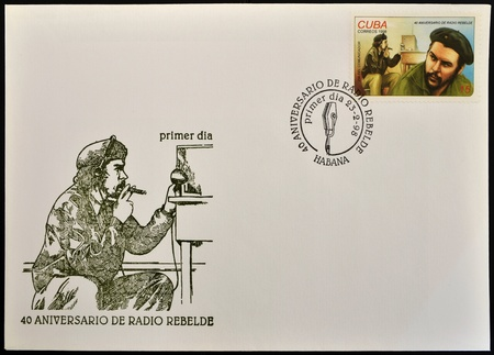 CUBA - CIRCA 1988: A stamp printed in Cuba shows the image of Che Guevara and rebel radio, first day of issue, circa 1988