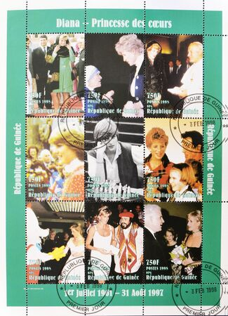 REPUBLIC OF GUINEA - CIRCA 1998: A stamp printed in Republic of Guinea different images of Princess Diana of Wales, circa 1998 Stock Photo - 11139870