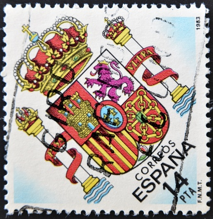 SPAIN - CIRCA 1983: A stamp printed in spain shows the Spanish coat of arms, circa 1983  photo