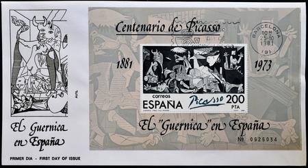 """philatelist: SPANIEN - CIRCA 1981: Ein Stempel in Spanien gedruckt zeigt Gem�lde von Pablo Picasso """"Guernica"""", am ersten Tag der Ausstellung, circa 1981"""