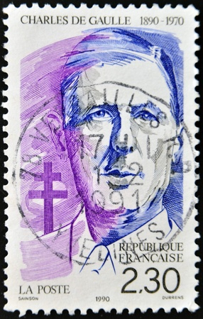 FRANCE - CIRCA 1990: A stamp printed in France shows Charles de Gaulle, circa 1990