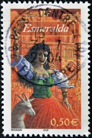 hugo: FRANCE - CIRCA 2003: A stamp printed in France shows Esmeralda, starred with Quasimodo in the novel Notre Dame de Paris by Victor Hugo, circa 2003