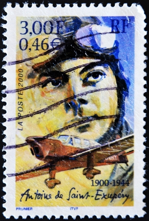 FRANCE - CIRCA 2000: A stamp printed in France shows the author of The Little Prince, Antoine de Saint-Exup�ry, circa 2000