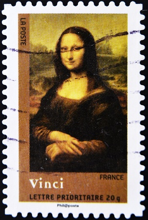 mona lisa: FRANCE - CIRCA 2008: A stamp printed in France shows Mona Lisa or La Gioconda. Louvre, Paris, circa 2008