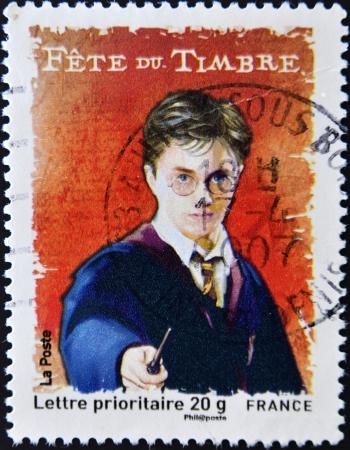 philatelist: FRANKREICH - CIRCA 2007: Ein Stempel in Frankreich gedruckt zeigt Harry Potter, circa 2007