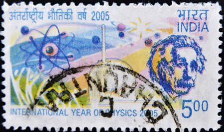 INDIA - CIRCA 2005: A stamp printed in India dedicated to the international year of physics, circa 2005