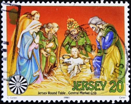 portal de belen: JERSEY - CIRCA 1998: Un sello impreso en Jersey muestra Belén portal, alrededor del año 1998