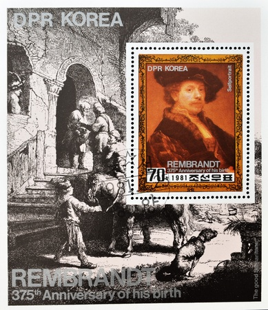 good samaritan: NORTH KOREA - CIRCA 1981 : A stamp printed in DPR North Korea shows Rembrandt self-portrait, circa 1981 Editorial