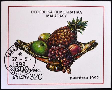 MADAGASCAR - CIRCA 1992: A stamp printed in Madagascar shows fruit center, circa 1992  photo