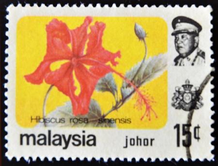 MALAYSIA-CIRCA 1985:A stamp printed in Malaysia shows Hibiscus rosa - sinensis, circa 1985.  Stock Photo