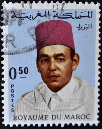 MOROCCO - CIRCA 1975: A stamp shows image of the portrait King Hassan II was King of Morocco from 1961 until his death in 1999, circa 1975.