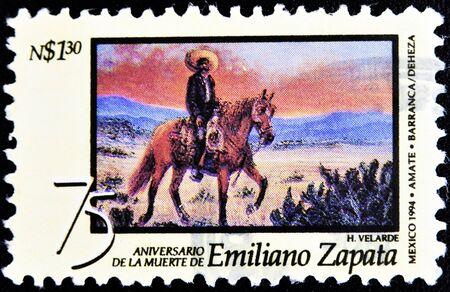 the liberator: MESSICO - CIRCA 1994: Un timbro stampato in Messico mostra Emiliano Zapata, circa 1994 Archivio Fotografico