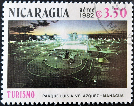 velazquez: NICARAGUA - CIRCA 1982: A stamp printed in Nicaragua shows Luis A. Park Velazquez in Managua, circa 1982  Stock Photo