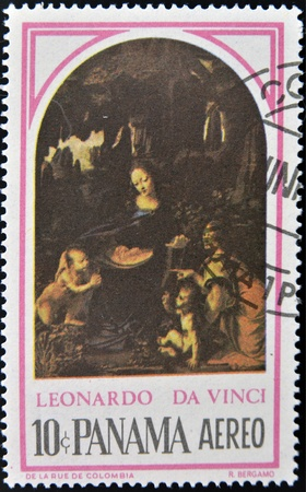 PANAMA - CIRCA 1966: A stamp printed in Panama shows Virgin of the Rocks by Leonardo da Vinci, circa 1966  photo