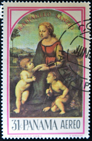 PANAMA - CIRCA 1966: A stamp printed in Panama shows the Madonna of the Meadow, painting created by renaissance artist Raphael, circa 1966