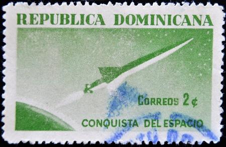 conquest: DOMINICAN REPUBLIC - CIRCA 1975: A stamp printed in Dominican Republic shows conquest of space, circa 1975 Stock Photo