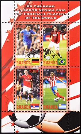 RWANDA - CIRCA 2010: A stamp printed in Rwanda shows top football players of the world, series, circa 2010 photo