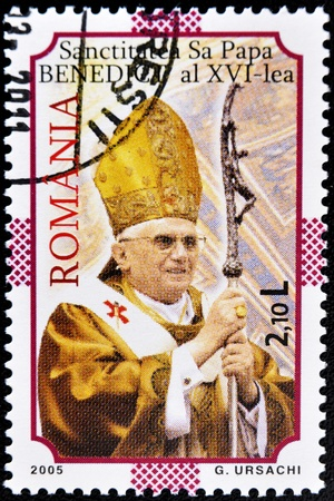 xvi: ROMANIA - CIRCA 2005: A stamp printed in Romania shows pope Benedict XVI, circa 2005