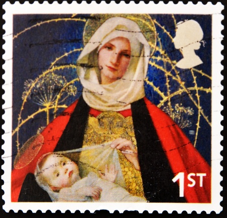 UNITED KINGDOM - CIRCA 2005: A stamp printed in the United Kingdom shows image of Mary and baby Jesus, circa 2005 photo