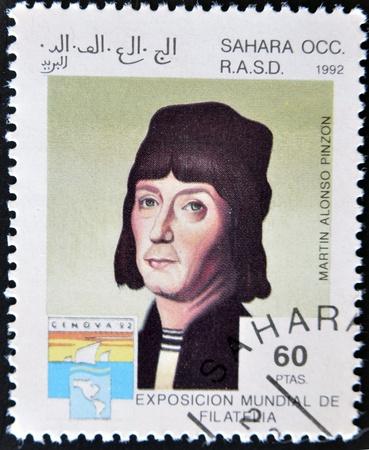 pinta: ARAB REPUBLIC OF WESTERN SAHARA - CIRCA 1992: A stamp printed in Sahrawi Arab Democratic Republic shows Marín Alonso Pinzón, co-discoverer of america with Christopher Columbus, circa 1992