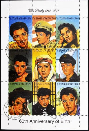 postmarked: S.TOME E PRINCIPE - CIRCA 2005: stamp printed in S.Tome E Principe showing Elvis Presley - rock and roll singer, serie, circa 2005 Editorial