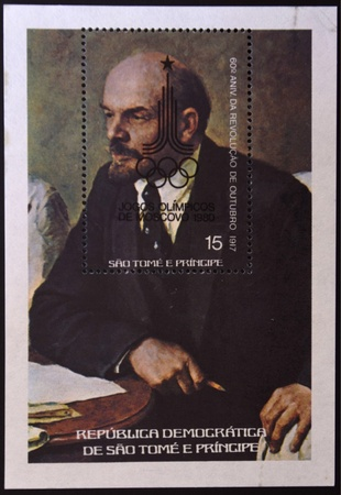 tomo: SAO TOME E PRINCIPE - CIRCA 1978: Un timbro stampato in S�o Tom� e Pr�ncipe Lenin, intorno al 1978