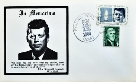 USA-CIRCA 1970:A stamp printed in USA shows image portrait John Fitzgerald Jack Kennedy, often referred to by his initials JFK, in memoriam, circa 1970. photo