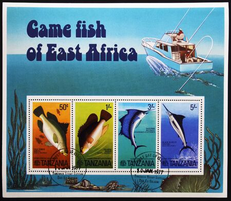 TANZANIA - CIRCA 1977: A stamp printed in Tanzania dedicated to game fish of east africa shows different fish, first day of issue, circa 1977  photo