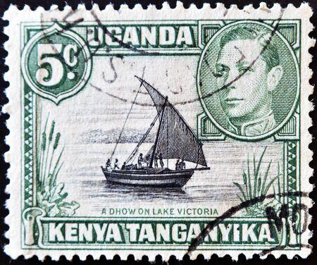 KENYA, UGANDA AND TANGANYIKA - CIRCA 1946: A stamp printed in Kenya, Uganda and Tanganyika shows Lake Victoria, circa 1946  Stock Photo - 11071577