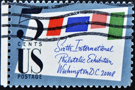 philately: UNITED STATES OF AMERICA - CIRCA 1966: a stamp printed in the United States of America shows Stamped Cover, 6th International Philately Exhibition, Washington D.C., circa 1966