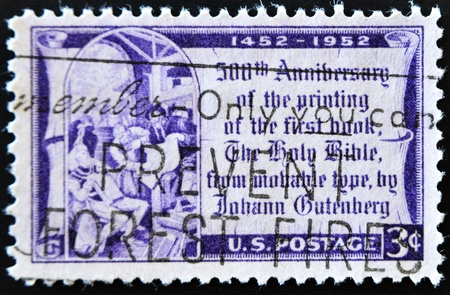 UNITED STATES OF AMERICA - CIRCA 1952: A stamp printed in the United States of America shows Johannes Gutenberg, circa 1952  Stock Photo - 11099032