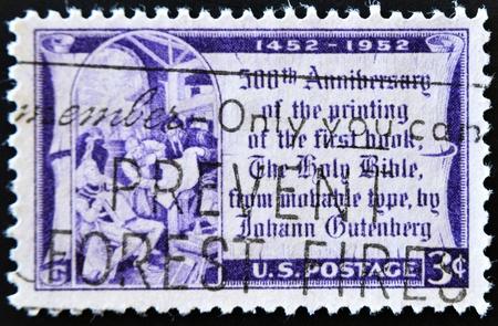gutenberg: UNITED STATES OF AMERICA - CIRCA 1952: A stamp printed in the United States of America shows Johannes Gutenberg, circa 1952