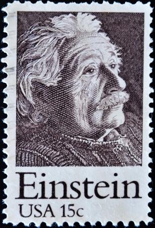 philatelist: UNITED STATES OF AMERICA - CIRCA 1970: Eine Briefmarke gedruckt in den USA zeigt Einstein Portrait, circa 1970
