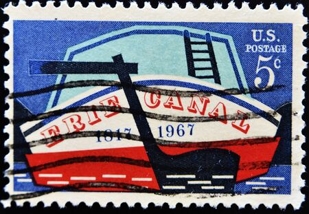 UNITED STATES - CIRCA 1967: A stamp printed by United states, shows Stern of Early Canal Boat, circa 1967 Stock Photo - 11099030