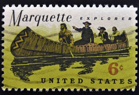 marquette: UNITED STATES OF AMERICA - CIRCA 1968: A stamp printed in the United States of America shows Father Jacques Marquette and Louis Jolliet explorers of the Mississippi, circa 1968  Stock Photo