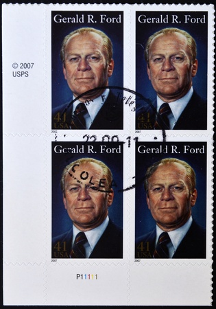 UNITED STATES OF AMERICA - CIRCA 2007: A stamp printed in USA shows President Gerald R Ford, circa 2007 Stock Photo - 11071591