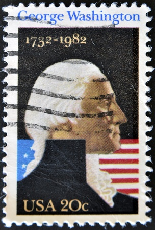 UNITED STATES OF AMERICA - CIRCA 1982: A stamp printed in the USA shows George Washington Portrait, circa 1982 Stock Photo - 11071576