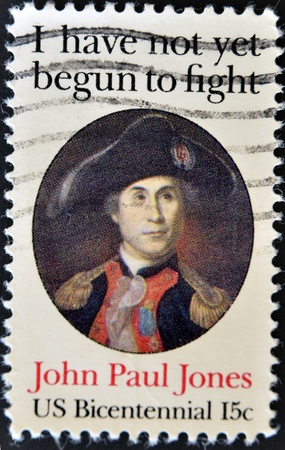 UNITED STATES OF AMERICA - CIRCA 1979: a stamp printed in the United States of America shows John Paul Jones, Naval Commander, American Revolution, circa 1979