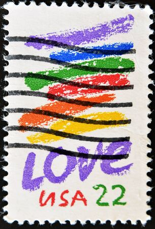 USA - CIRCA 1985 : A stamp printed in the USA shows love, circa 1985 Stock Photo - 11071596
