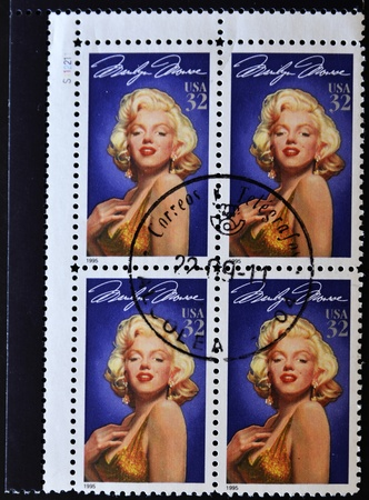 UNITED STATES OF AMERICA - CIRCA 1995: A stamps printed in USA showing a Marilyn Monroe portrait, circa 1995