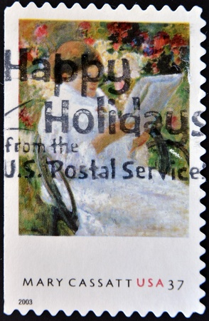 UNITED STATES OF AMERICA - CIRCA 2003: A stamp printed in the United States of America shows image of an artwork by Mary Cassatt, the American artist, series, circa 2003 Stock Photo - 11090941