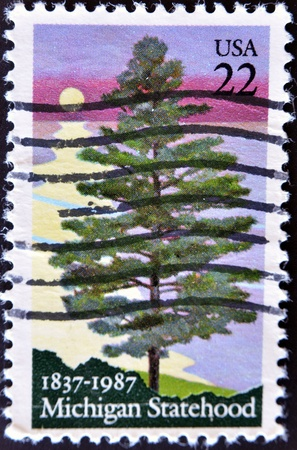 UNITED STATES OF AMERICA - CIRCA 1987: A stamp printed in USA honoring 100 years of Michigan Statehood shows pine tree on the background of sunset of he lake, circa 1987 Stock Photo - 11090963