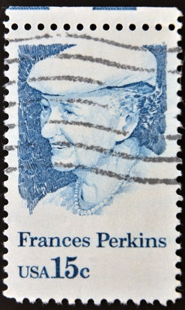 UNITED STATES OF AMERICA - CIRCA 1980: A stamp printed in USA shows Frances Perkins, 1st Woman Cabinet Member, US Secretary of Labor, circa 1980