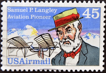 UNITED STATES OF AMERICA - CIRCA 1988: a stamp printed in the United States of America shows Samuel Pierpoint Langley, Astronomer, Aviation Pioneer and Inventor, circa 1988 Stock Photo - 11071604