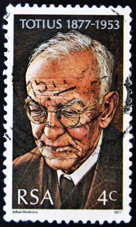 rsa: SOUTH AFRICAN - CIRCA 1977: A stamp printed in South African shows African poet Totius, circa 1977  Editorial