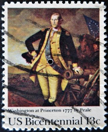 UNITED STATES - CIRCA 1976: A stamp printed by United states, shows Washington at Princeton, circa 1976  Stock Photo - 11071561